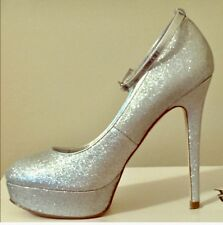 NEW $110 Gorgeous sparkle heels ALDO SHOES Silver Glitter Platform Pumps 9 M!