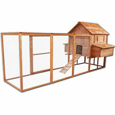 Wood Chicken Poultry Bird Rabbit Pet Coop LARGE OUTDOOR RUN Hen house Hutch