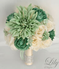 17 Piece Package Silk Flower Wedding Bridal Bouquet Sets MINT Green TEAL IVORY