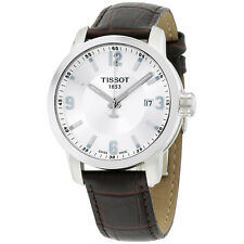 Tissot PRC 200 Quartz Silver Dial Brown Leather Sport Mens Watch T0554101603700