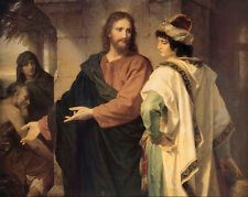 RELIGIOUS ART PRINT JESUS Christ & The Rich Young Ruler by Hofmann 24x21 Poster