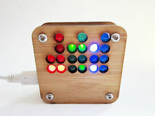 24-Hour RGB Binary Clock Kit in Sustainable Bamboo Wood Case USB Powered