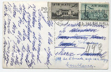 1954 airmail postcard New York to Morocco and forwarded
