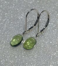 925 Sterling Silver Bezel Set Oval Cab Peridot Dangle Leverback Earrings 3.20CTW