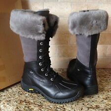 UGG Adirondack Tall Black Leather Sheepskin Waterproof Snow Boots US 11 Womens