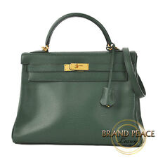 Hermes Kelly 32 in sewing Ardennes Green Gold hardware H changing Free Shipping