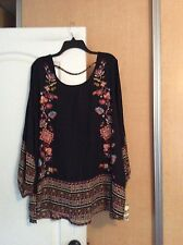 New Eyeshadow - Black/multi Color Floral Women Tunic Top Plus Size 18/20W