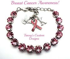 NEW! Beautiful BREAST CANCER Awareness 8mm Swarovski Elements Bracelet - PRETTY!