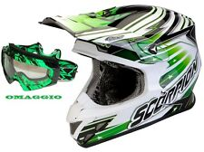 CASCO CROSS SCORPION VX 20 FIBRA STAR TROOPER VERDE BIANCO MASCHERINA OMAGGIO M