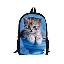 Blue Animal Cat Women Bookbag Backpack Satchel School Bag for Teenager Girls