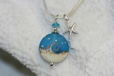"Ocean wave sea glass look necklace and sterling silver starfish charm 18"" chain"