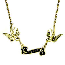 LUCKY FLYING BIRD NECKLACE Swallow Rockabilly Tattoo Chain Gold Metal Vintage