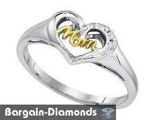 mom diamond .02 carat white 925 heart ring life journey open love promise