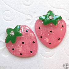10 x Shiny Resin Strawberry Flatback Beads/Bows SB79A