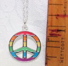 """929 Sterling Silver Colorful Enamel """"Peace"""" Pendant w/""""18 Sterling Silver Chain"""
