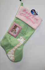 GIRAFFE PHOTO BABY'S FIRST CHRISTMAS STOCKING Pink Girls Holiday Decoration NEW