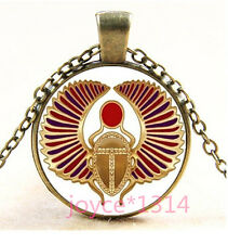 Vintage Egyptian Sun God Cabochon bronze Glass Chain Pendant Necklace #1297