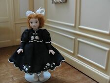 SALE : Artisan All Porcelain Little Girl Doll in Black - Dollhouse Miniature