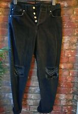 TOPSHOP mom jeans black grunge 10 urban ripped vintage 90s oversized winter 80s