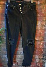 TOPSHOP Mom Jeans Negro Grunge 10 Urban rasgada Vintage 90s de gran tamaño de invierno 80s