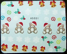 Weihnachten, Xmas Water Nail Sticker Tatoo No. AS031  - super süsse Teddy`s