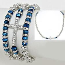 2 Way Bracelet Necklace Silver Blue Cross Crystal Stretch Alloy Horizontal