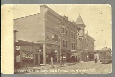 1913 WESTFIELD NEW YORK - Post Office - Fireman's Hall - Barber Shop - RPPC