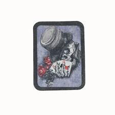 Biker Chopper Magician Poker Skull Totenkopf Echt Leder Aufnäher Leather Patch
