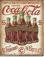 Large Coca Cola Coke In Bottles Vintage Weathered Rustic Metal Tin Sign New 2091