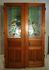Pair of Large Pitch Pine Stained Glass Doors (1864)NS