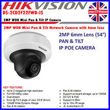 Hikvision desplazamiento e inclinación Interior DS-2CD2F22FWD-IS 2MP 6mm Lente de Cámara IP POE ONVIF Mini