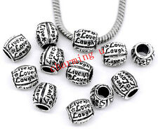 3pz  distanziali spacer beads 'live love laugh'colore tibet 10x10mm