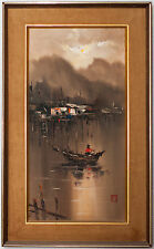 Fisher On Boat Storm Seascape Beautiful Oil Painting on Canvas Signed