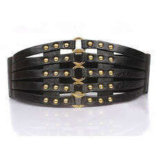 Lady Cut-outs Leather Alloy Buckle Rivet Dress Wide Waist Belt Black/Red Colors