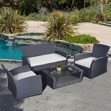 4PC Wicker Cushioned Outdoor Patio Furniture Set Garden Lawn Sofa Rattan Black