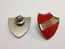 Hung Over Red Retro School Prefect Shield Type Lapel Pin Badge