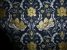 ORIENTAL FLOWER Fabric Fat Quarter Cotton Craft Quilting Gold Black ROSES