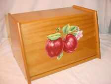"Vtg Wood Bread Box Storage Apples on Front Drop Down 15""x 9"" x 9"" Clean Cottage"