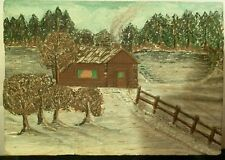 3D Hand carved wood WALL HANGING winter scene in Dulueth, Minnesota