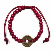 Feng Shui Bracelet - Wood Beads with Chinese Coin - Red
