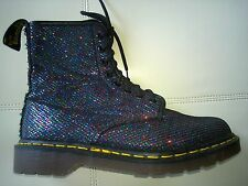 DOC DR. MARTENS BLACK MULTI-COLOR GLITTER FISHNET BOOTS ENGLAND VINTAGE RARE UK8