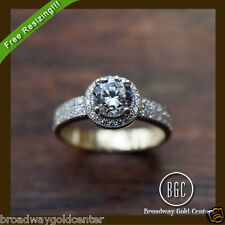 2.08 CTW Round Brilliant Cut Halo Engagement Ring 14k Solid Yellow Gold ON SALE!