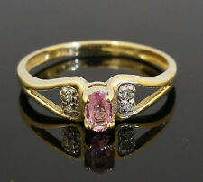 9ct Yellow Gold Pink Sapphire Solitaire Ring With Diamond Accents (Size M 1/2)