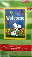 Peanuts Snoopy Welcome  Large Applique Garden Flag Woodstock & Butterfly