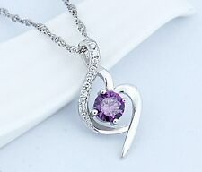Sterling Silver Necklace Chain Amethyst Crystal Heart Purple Pendant Gift Box J6