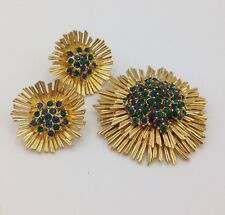 Vintage Boucher Signed Numbered Brooch and Earring Set 7018 7158