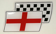 England Resin Domed Chequered Decal / Gel Sticker Car / Bike / Lorry