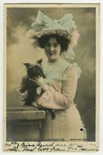 c 1902 British Edwardian Theater LADY w/ CAIRN TERRIER Victorian photo postcard