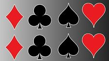 "Playing cards suit sticker vinyl decal 2"" tall each"