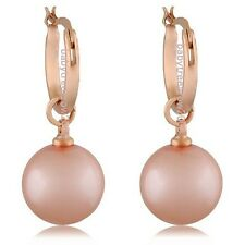 18K Rose Gold GP Dangle Pearl Fashion Earring 750